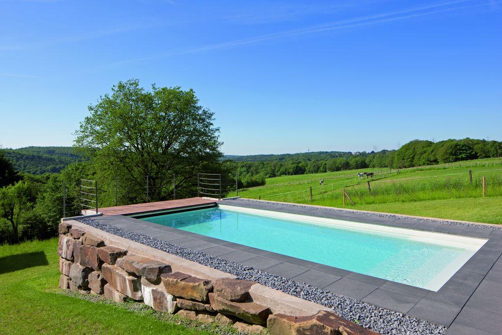 Neubau pools aus beton oder edelstahl schwimmbadservice for Gartenpool hanglage