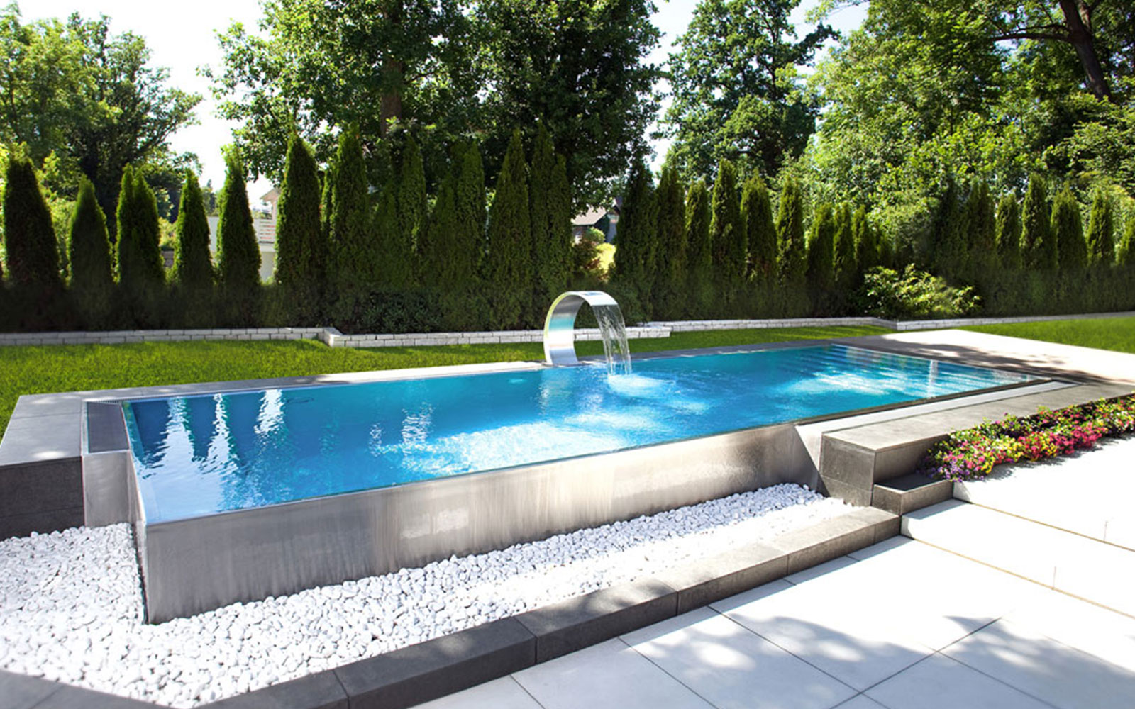 Neubau pools aus beton oder edelstahl schwimmbadservice for Pool aus stahl